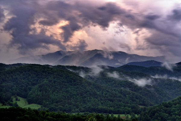 Storm Clouds over the Smokies - Sunrise at the Foothills Parkway