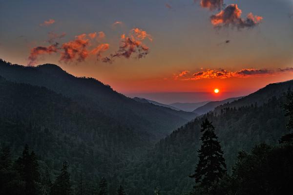 Morton Overlook Sunset - Great Smoky Mountains National Park
