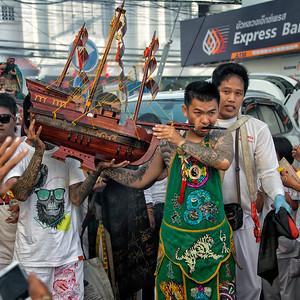 Mystic with Boat through Cheek, Phuket Vegetarian Festival, Thailand - 2015