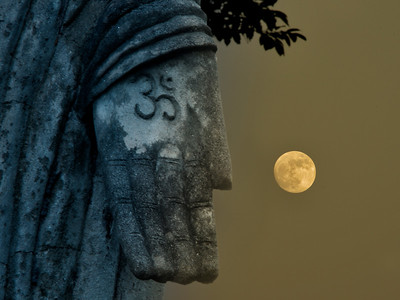 Buddhist Statue with Full Moon, Sala Keoku Park, Nong Khai, Thailand - 2015