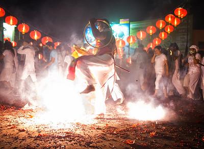 Mystic Dancing in Firecrackers, Phuket Vegetarian Festival, Thailand - 2015