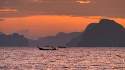 Sunset over Islands and Fishermen, seen from Ko Yao Noi Island, Thailand - 2015