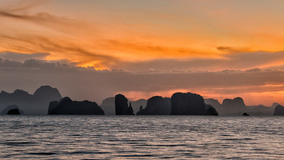 Sunset over Islands seen from Ko Yao Noi Island, Thailand - 2015