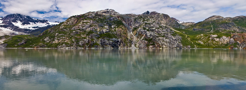 Panorama of Mountains in Glacier Bay National Park in Alaska.