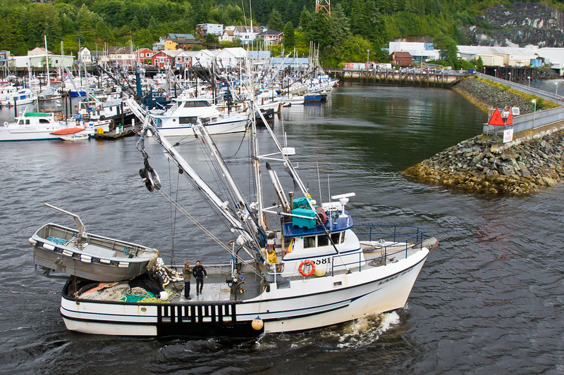 Tourism and Fishing boats at Ketchican, Alaska, port of call for Alaska cruise ships following the Inside Passage route.