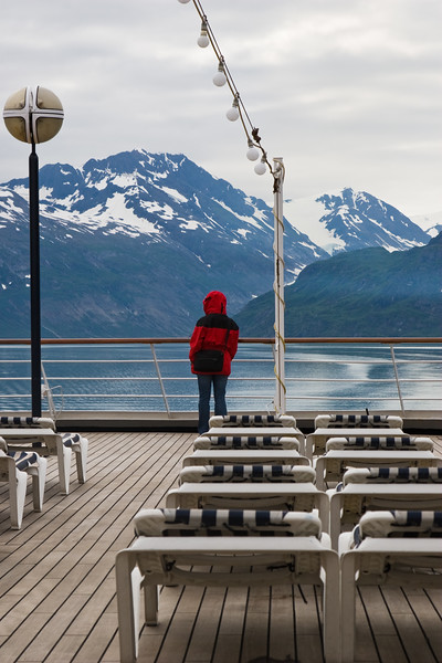 Cruise Ship Volendam in Glacier Bay National Park on the West Coast of Alaska above the Inside Passage.
