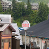 Tourist and fishing town of Ketchican, Alaska, port of call for Alaska cruise ships following the Inside Passage route. Ketchican downtown streets are built over water.