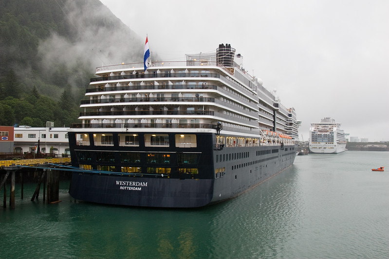 Cruise ship at Juneau, Alaska, capital of Alaska, and port of call for cruise ships going to Alaska via the Inside Passage. Juneau is completely landlocked and cannot be reached except by boat and airplane.