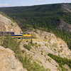 Alaskan Railroad train running alongside the Nenana River in Alaska.