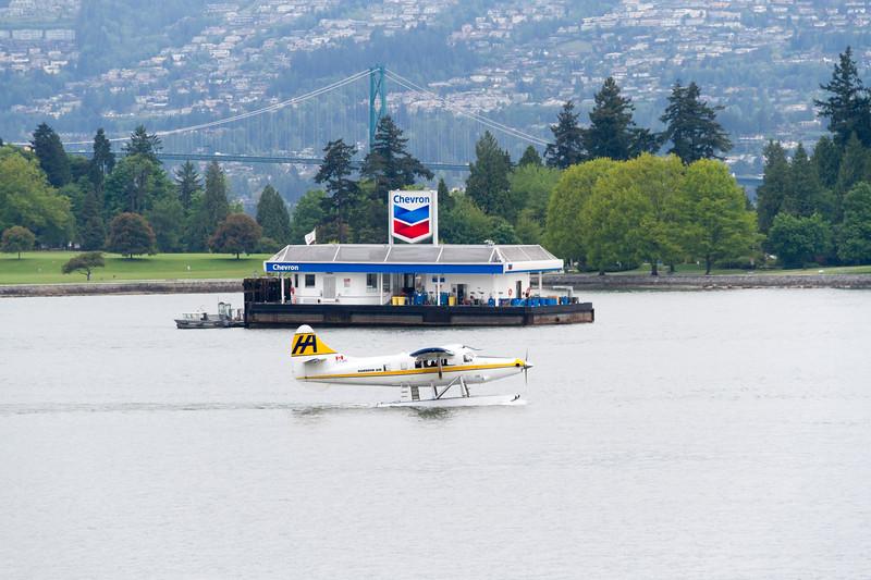 Seaplane tourist flight over Vancouver Harbor in Vancouver, British Columbia, Canada.