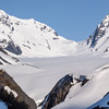 """Bartlett Glacier in the Kenai Mountains in Alaska. This glacier is visible from the Alaska Railroad train ride in the """"Loop District"""" area where loopbacks were once necessary to allow steam trains to climb the steep grade to the """"Grandview"""" summit. This area is accessible only by train or hiking."""