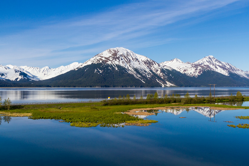 Alaska coastal highway between Anchorage and Seward, Alaska, with views of the beautiful blue waters of Turnagain Aram (an arm of Cook Inlet which almost surrounds Anchorage).