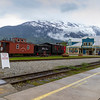 White Pass and Yukon Route Railroad train station depot in Skagway, Alaska. The scenic train ride available on this line over the White Pass mountain path is a favorite of Cruise Ship passengers looking for exciting tours and shore excursions. Others begin land tours of the Yukon and Alaska via this railroad.