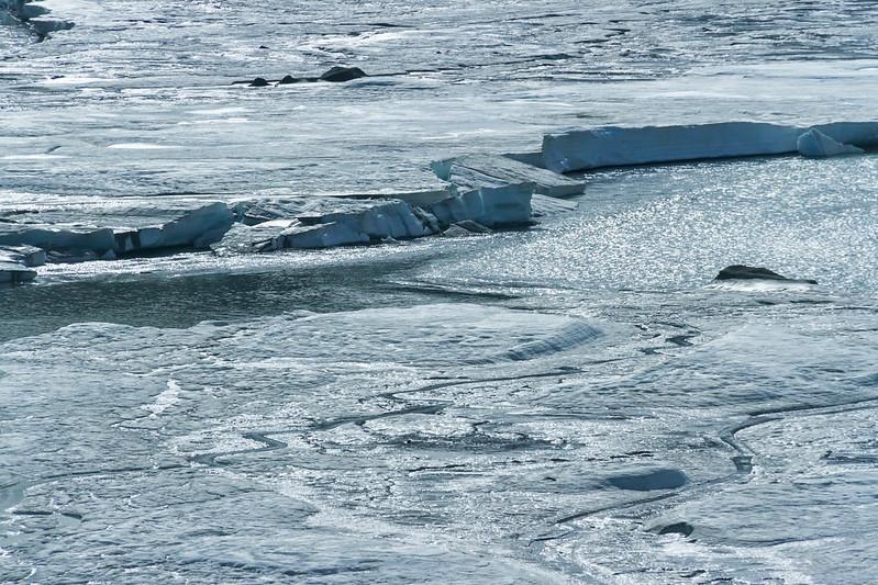 Still frozen braided Tenana river along the Alaska highway near Delta Junction, Alaska.