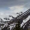 Snow covered mountains in Alaska Mountain Range near Denali National Park, Alaska.
