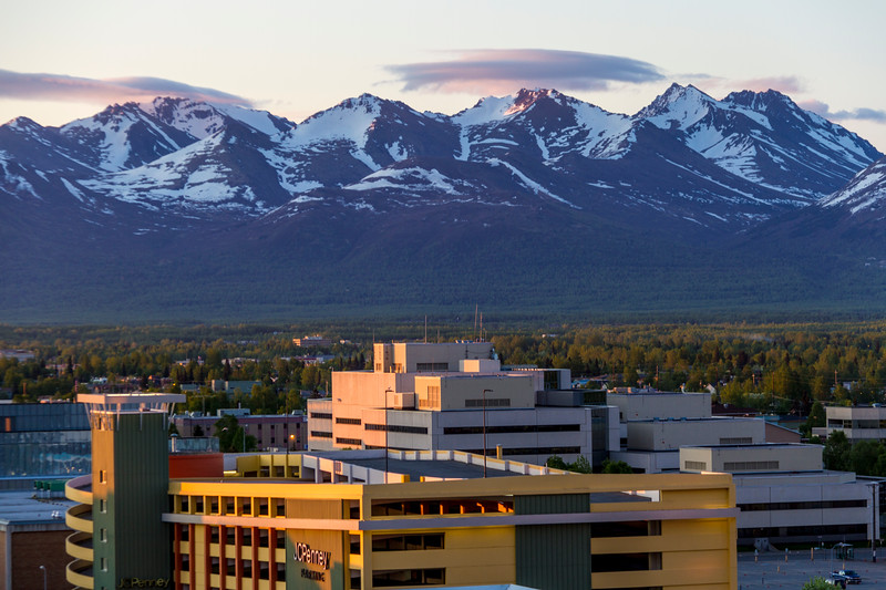 Sunrise in downtown Anchorage, Alaska, at about 4:30 am Alaska time on June 2.