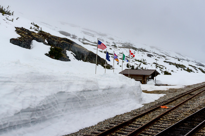 White Pass Summit on White Pass and Yukon Route Railroad in Alaska.