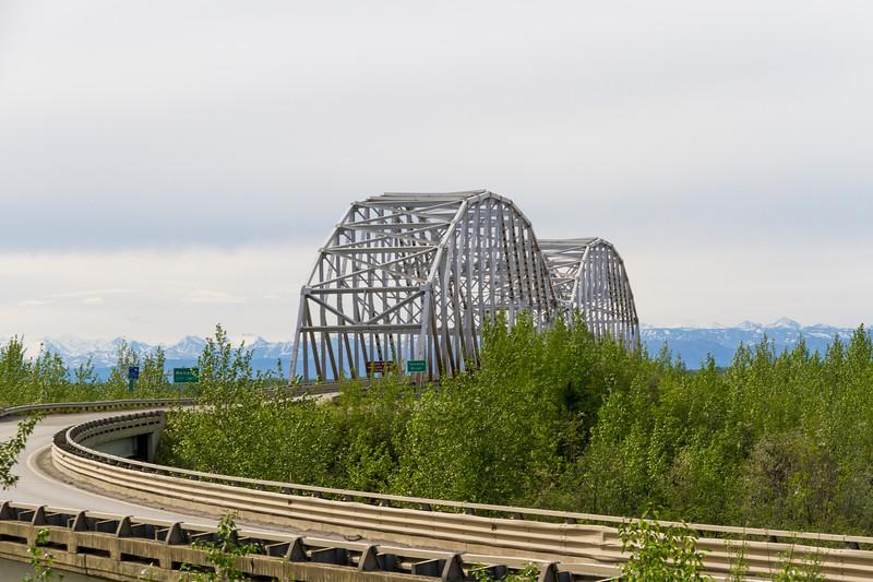Highway bridge over Tenana River in Alaska.