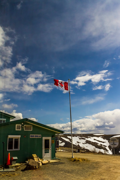 """Poker Creek, Alaska, customs office (shared with Canadian Customs) at the United States and Canada border between Alaska and the Yukon Territory on the """"Top of the World Road."""""""