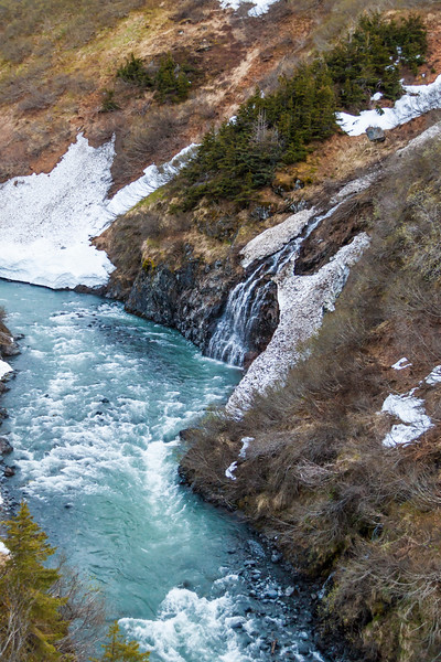 Creeks and rivers are fed by melting snow and glaciers in the Kenai Mountains on the Kenai Peninsula between Seward and Anchorage, Alaska.