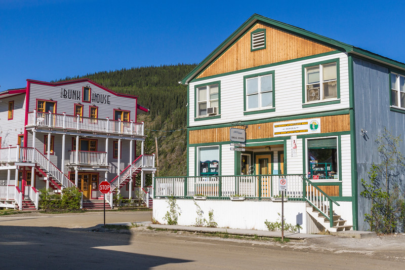 Dawson City in the Yukon Territory, Canada, has a subartic climate and a year round population of about 1900. It sits at the confluence of the Yukon and Klondike Rivers. As the center of the Klondike Gold Rush, it is still a gold mining community, but it is very dependent on tourism at present. The town is a living museum of the gold rush era.