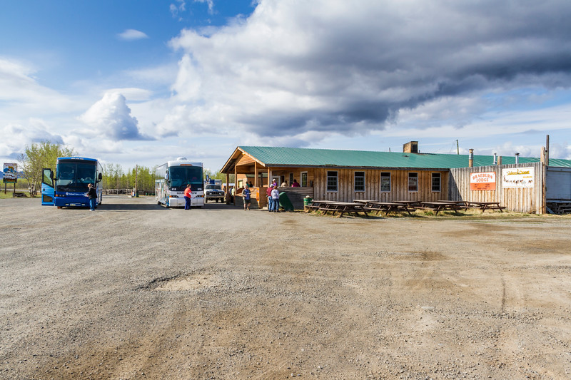 Braeburn Lodge is a roadhouse on the Klondike Highway in the Yukon Territory of Canada. It is located east of Braeburn Lake and north of Braeburn Mountain, on the path of the former Dawson Overland Trail, which was built in 1902 between Whitehorse and Dawson City. The lodge is a tourist destination, famous for its large cinnamon buns.