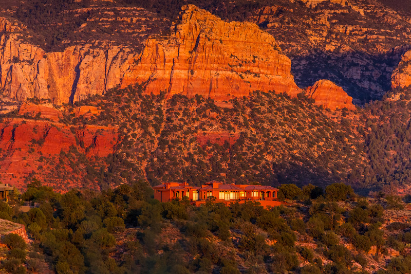Sunset is very dramatic on the red rock hills surrounding Sedona, Arizona.