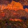 Sunset is very dramatic on the red rock hills surrounding Sedona, Arizona.