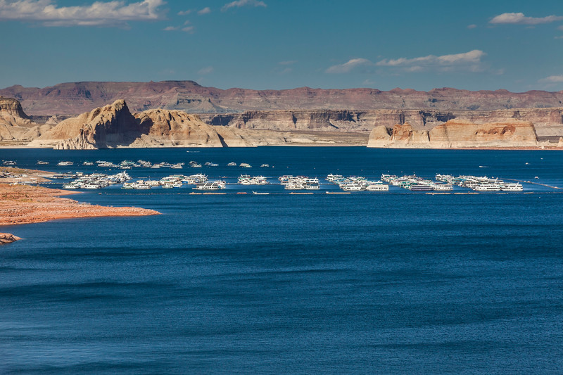 Wahweap Marina and resort on Lake Powell in the Glen Canyon National Recreation Area in Arizona. The National Recreation Area is managed by the National Park Service.