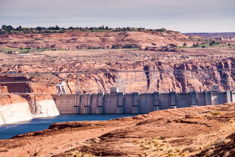 Glen Canyon Dam on the Colorado River at Page, Arizona.