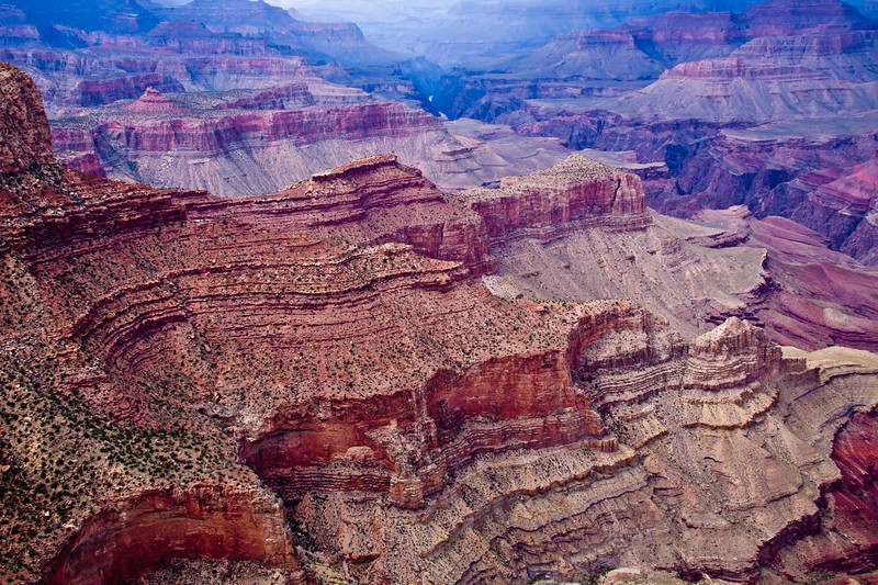 Grand Canyon National Park in Arizona, on overcast day in August with storm coming in.