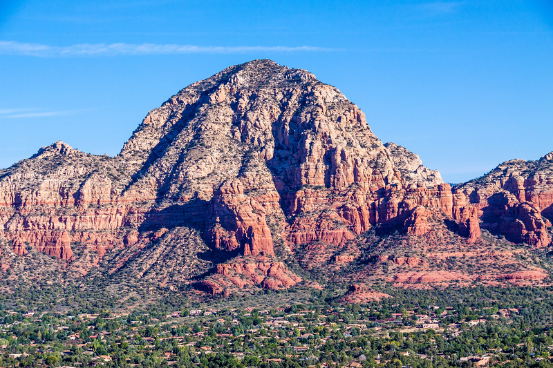 Thunder Mountain (also called Capitol Butter) rising above the city of Sedona, Arizona.