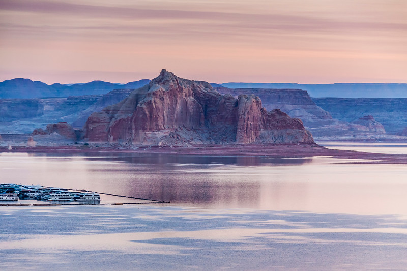 Soft, early morning light on Wahweap Marina on Lake Powell in the Glen Canyon National Recreation Area.