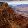 Grand Canyon National Park in Arizona, on overcast day with storm coming in.