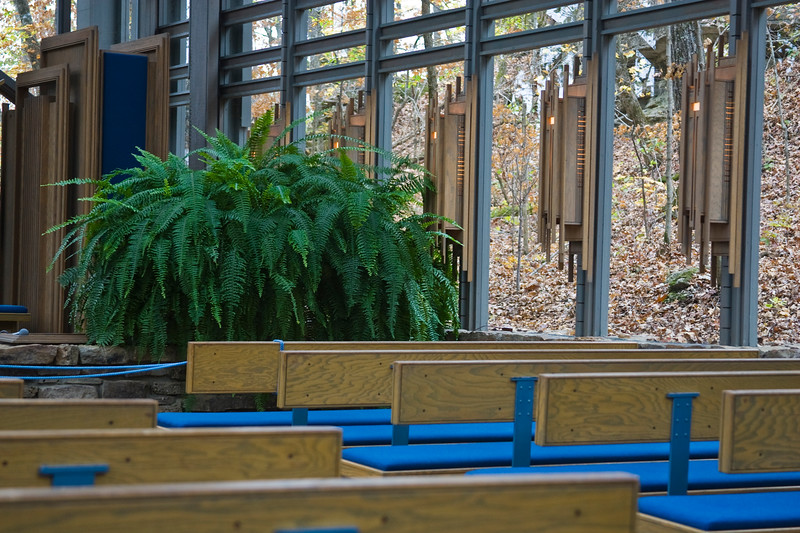 Thorncrown Chapel near Eureka Springs, Arkansas. Architecturraly dramatic, glass-walled, open chapel in the forest.