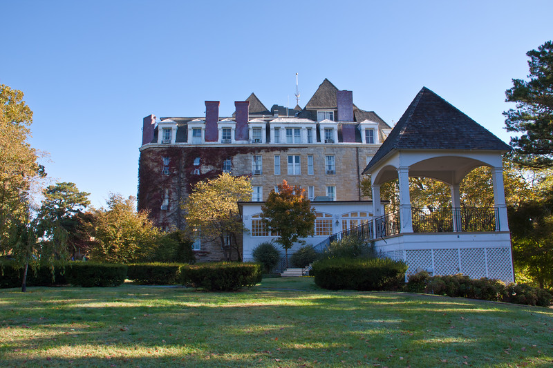 """On May 20, 1886, the grandiose Crescent Hotel opened in Eureka Springs, Arkansas, and the local Eureka Springs Times Echo called it """"America's most luxurious resort hotel.""""  Offering large airy rooms with exquisite furnishings, a dining room that once seated more than 500 people, and outside amenities that included a swimming pool, tennis courts and croquet, among a beautiful landscape of flower gardens, winding boardwalks and gazebos, the opulence of the hotel was unmatched at the time. This hotel is also reputed to be haunted."""