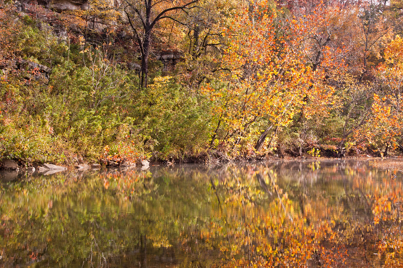 Autumn scene in one of many park areas found in the Buffalo National River districts and managed by the National Park Service. The Buffalo River is the first river to receive the National River designation. This park and campground area is located just off of Arkansas scenic byway 7.