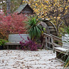 Old Water Mill with autumn color at Eureka Springs Gardens, near Eureka Springs, Arkansas.