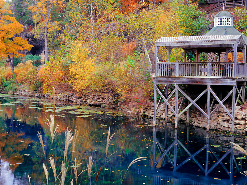 Autumn color in Arkansas. Lake in Eureka Springs Gardens.