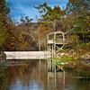 Gazebo on the lake in Eureka Springs Gardens in the Ozark Mountains in Arkansas.