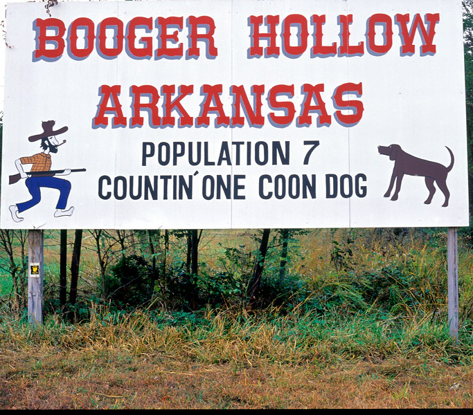 Sign for Booger Hollow, Arkansas. On scenic highway 7 in the Ozark Mountains.