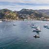 Avalon Harbor on Catalina Island, California, in evening light.