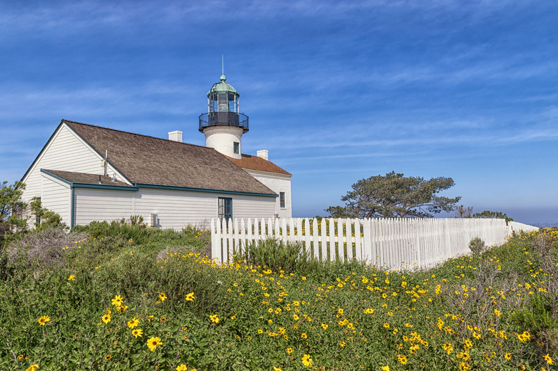 Old Point Loma Lighthouse on Point Loma Peninsula at San Diego, California. It was built in 1855 but was replaced only 30 years later because fog made it ineffective for warning ships. The New Point Loma Lighthouse was built at the shoreline where it was more visible.