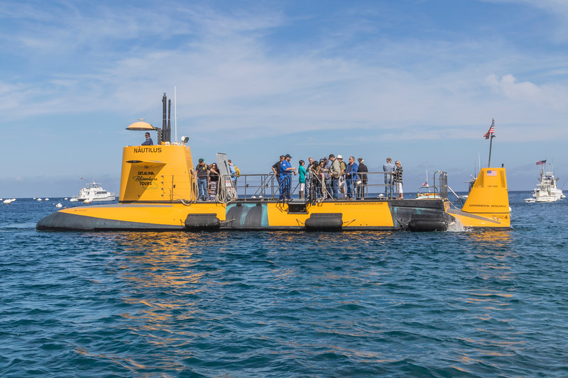 Nautilus Submarine Adventures Tours boat in Avalon Harbon on Catalina Island, California.
