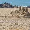 Sand Castle remains on beach at Hotel Del Coronado on Coronado Island, San Diego, California.