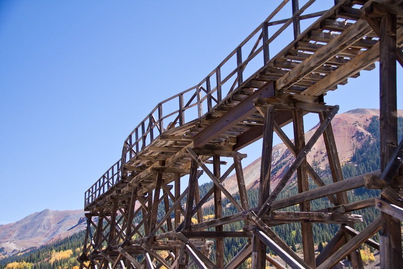 Abandoned Idarado Mine Trestle at Red Mountain Pass on the Million Dollar Highway (US 550). The Idarado Mine was a gold mining operation in the San Juan Mountains of Ouray County, Colorado.