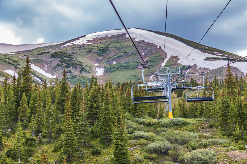 Independence SuperChair Ski Lift at Grand Lodge Resort on Peak 7 mountain at Breckenridge, Colorado.