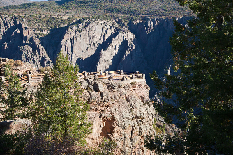 Black Canyon of the Gunnison National Park in Colorado. The canyon carved by the Gunnison River was established as a U.S. National Monument on March 2, 1933 and made into a National Park on October 21, 1999.