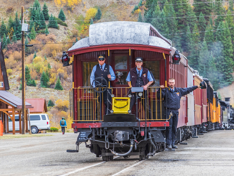 Durango to Silverton Narrow Gauge Railroad - train ride from Durango to Silverton is famous tourist attraction featuring steam engines and vintage train cars through the San Juan Mountains.