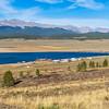 Taylor Park Reservoir lake along Colorado Gunnison County Road 765 in rural Colorado.